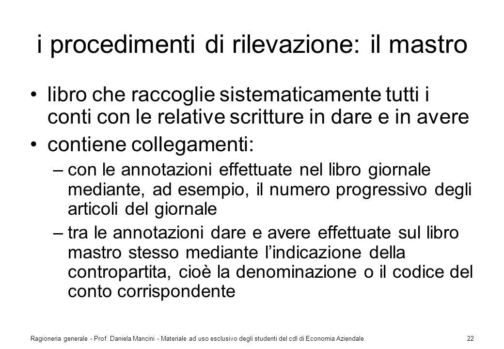 Ragioneria generale - Prof. Daniela Mancini - Materiale ad uso esclusivo degli studenti del cdl di Economia Aziendale22 i procedimenti di rilevazione: