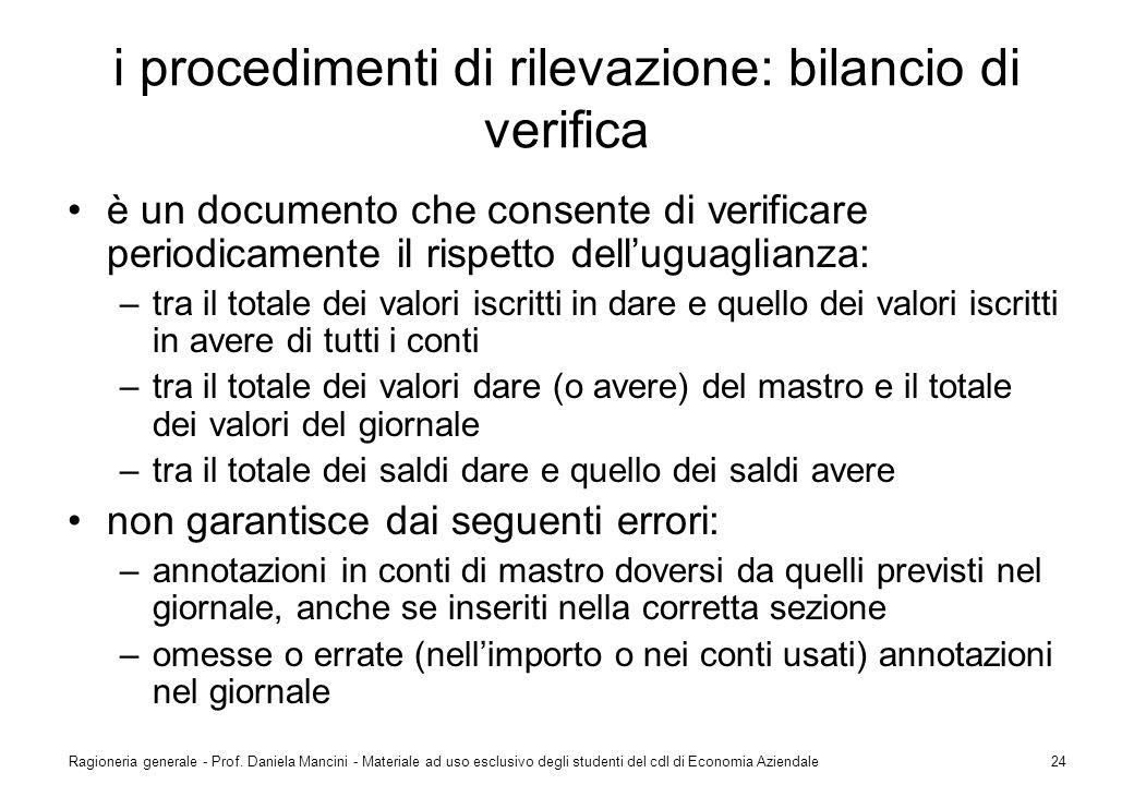 Ragioneria generale - Prof. Daniela Mancini - Materiale ad uso esclusivo degli studenti del cdl di Economia Aziendale24 i procedimenti di rilevazione: