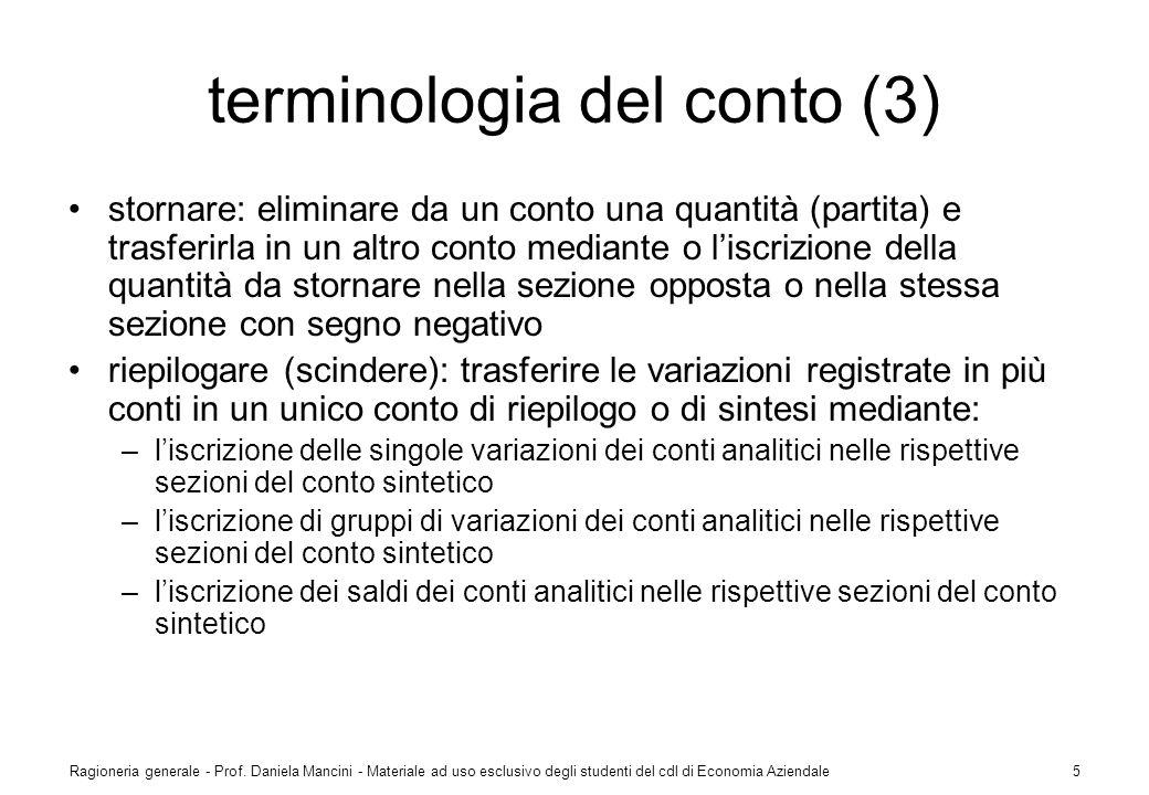 Ragioneria generale - Prof. Daniela Mancini - Materiale ad uso esclusivo degli studenti del cdl di Economia Aziendale5 terminologia del conto (3) stor