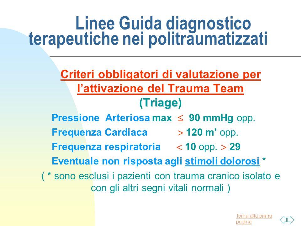 Torna alla prima pagina Linee Guida diagnostico terapeutiche nei politraumatizzati Criteri obbligatori di valutazione per lattivazione del Trauma Team