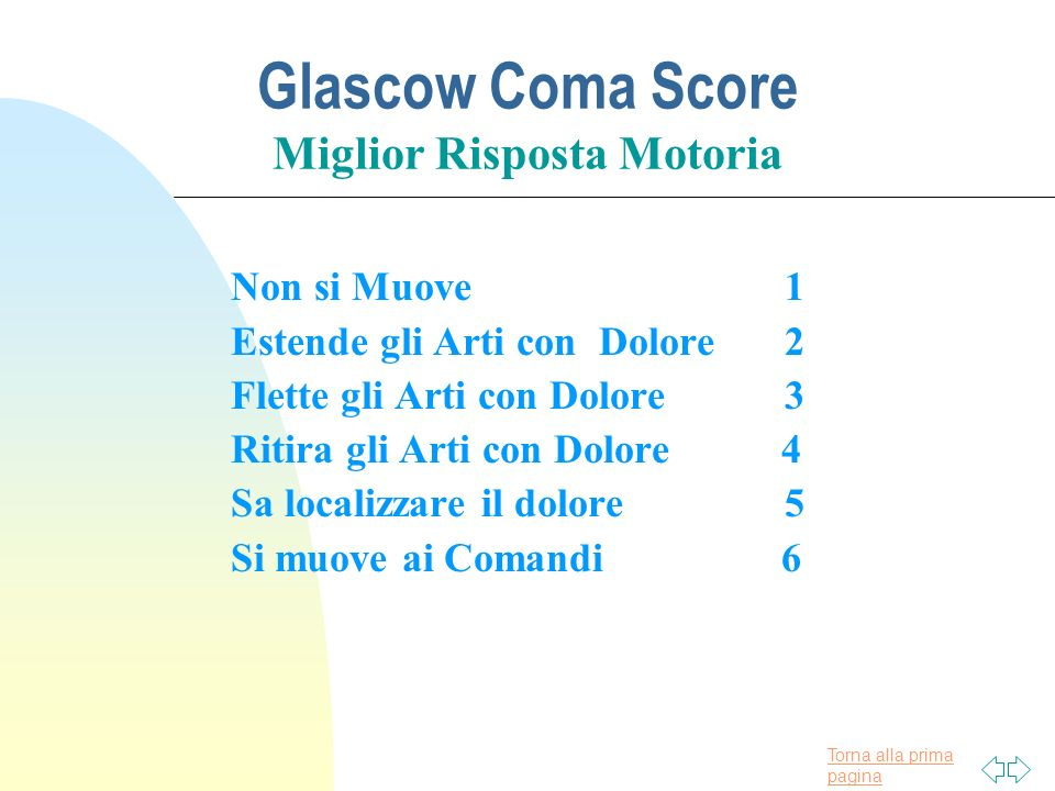 Torna alla prima pagina Glascow Coma Score Miglior Risposta Motoria Non si Muove1 Estende gli Arti con Dolore2 Flette gli Arti con Dolore 3 Ritira gli