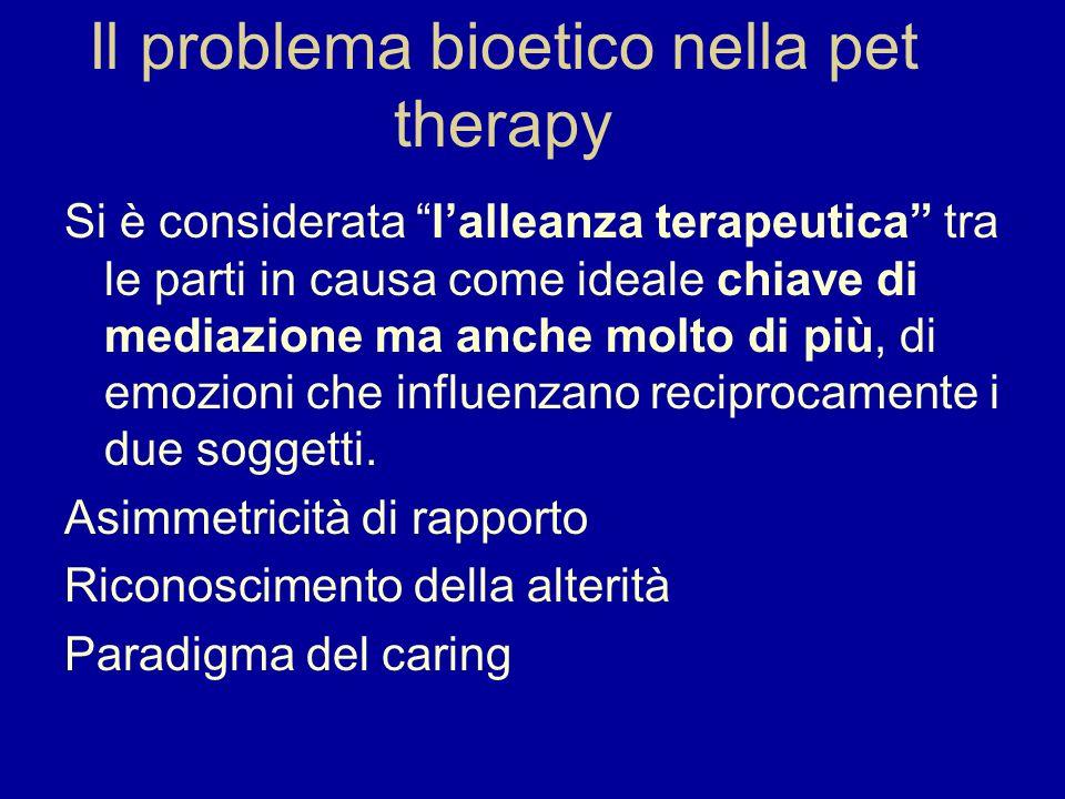 Il problema bioetico nella pet therapy Si è considerata lalleanza terapeutica tra le parti in causa come ideale chiave di mediazione ma anche molto di