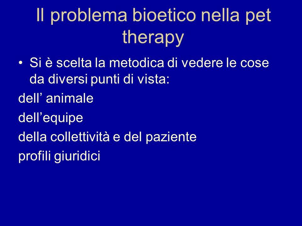 Il problema bioetico nella pet therapy Si è scelta la metodica di vedere le cose da diversi punti di vista: dell animale dellequipe della collettività