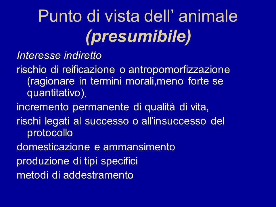 Punto di vista dell animale (presumibile) Interesse indiretto rischio di reificazione o antropomorfizzazione (ragionare in termini morali,meno forte s