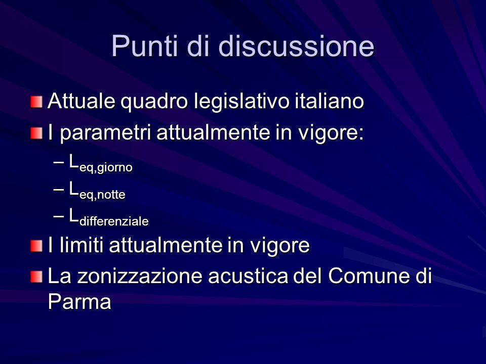 Punti di discussione Attuale quadro legislativo italiano I parametri attualmente in vigore: –L eq,giorno –L eq,notte –L differenziale I limiti attualm