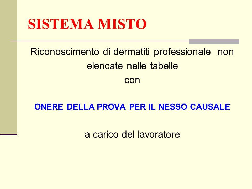 SISTEMA MISTO Riconoscimento di dermatiti professionale non elencate nelle tabelle con ONERE DELLA PROVA PER IL NESSO CAUSALE a carico del lavoratore