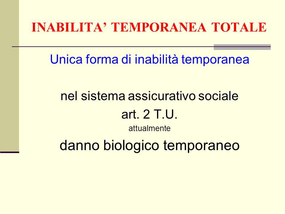 INABILITA TEMPORANEA TOTALE Unica forma di inabilità temporanea nel sistema assicurativo sociale art. 2 T.U. attualmente danno biologico temporaneo