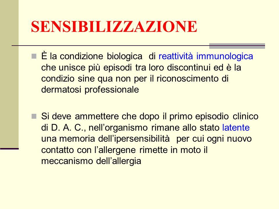 SENSIBILIZZAZIONE È la condizione biologica di reattività immunologica che unisce più episodi tra loro discontinui ed è la condizio sine qua non per i