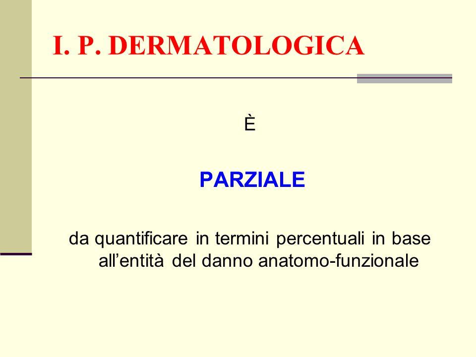 I. P. DERMATOLOGICA È PARZIALE da quantificare in termini percentuali in base allentità del danno anatomo-funzionale