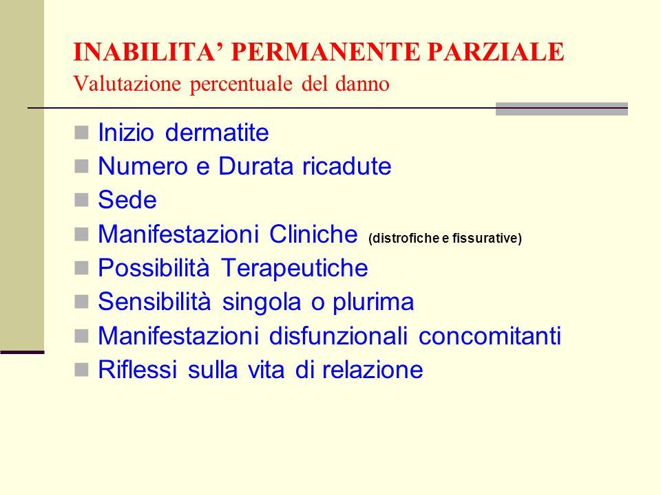INABILITA PERMANENTE PARZIALE Valutazione percentuale del danno Inizio dermatite Numero e Durata ricadute Sede Manifestazioni Cliniche (distrofiche e