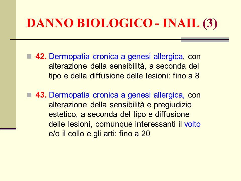 DANNO BIOLOGICO - INAIL (3) 42. Dermopatia cronica a genesi allergica, con alterazione della sensibilità, a seconda del tipo e della diffusione delle