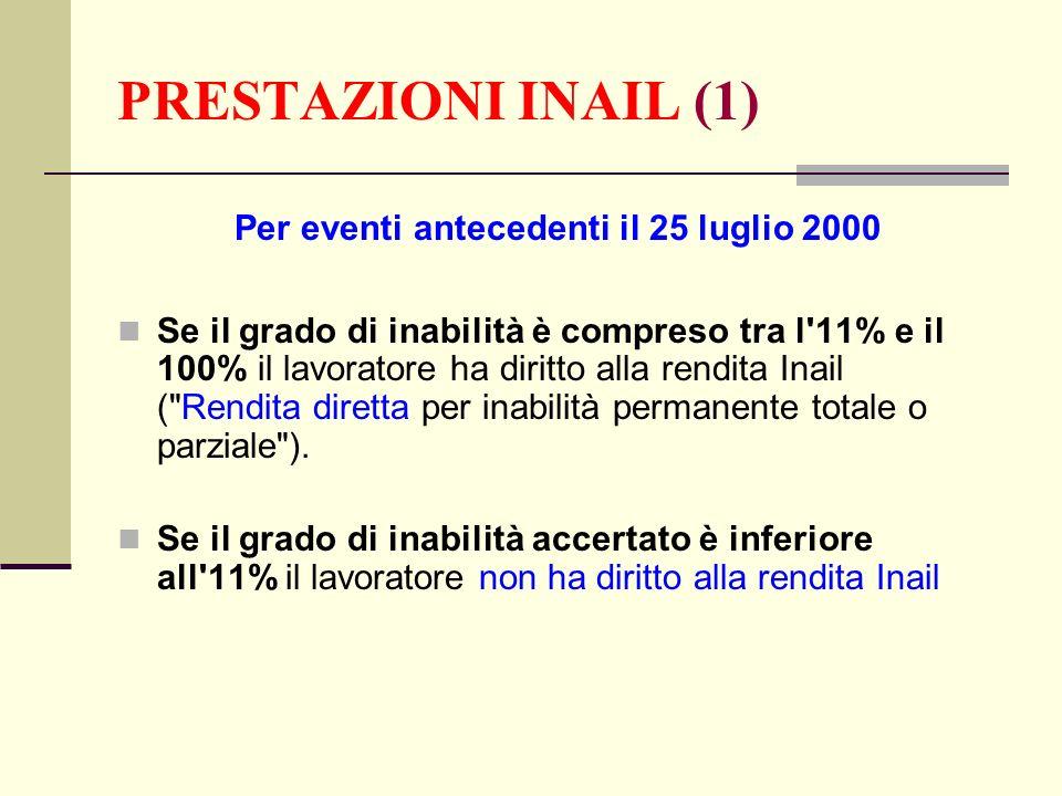 PRESTAZIONI INAIL (1) Per eventi antecedenti il 25 luglio 2000 Se il grado di inabilità è compreso tra l'11% e il 100% il lavoratore ha diritto alla r