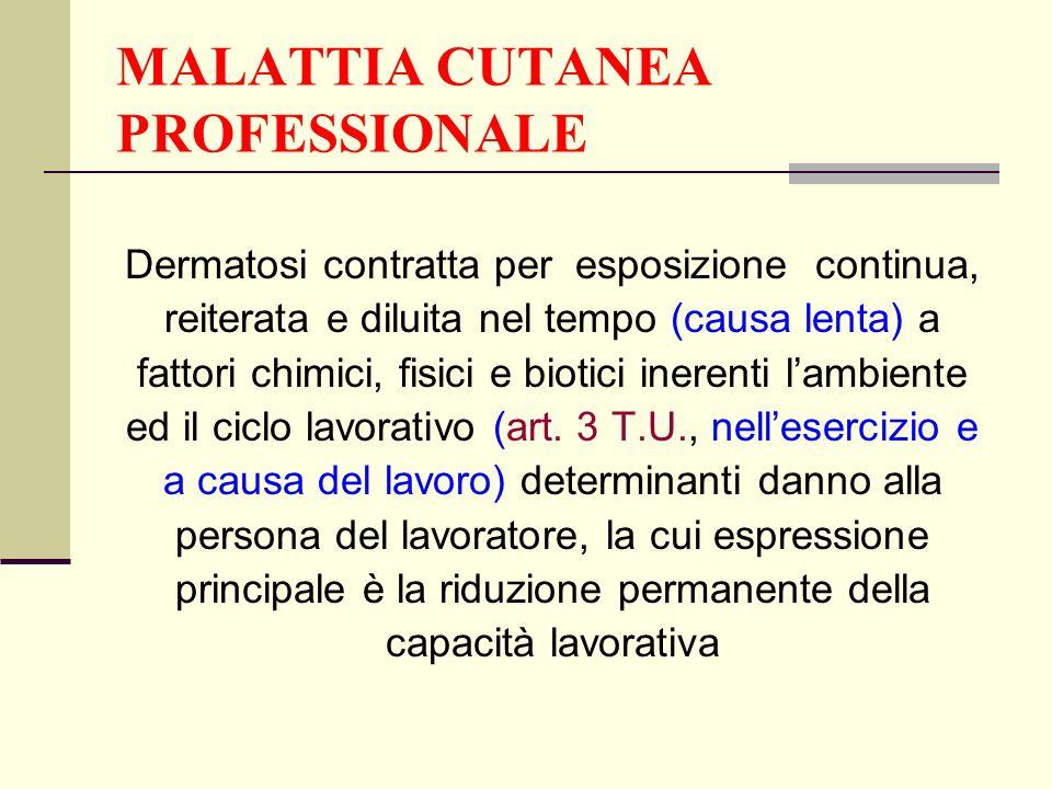 MALATTIA CUTANEA PROFESSIONALE Dermatosi contratta per esposizione continua, reiterata e diluita nel tempo (causa lenta) a fattori chimici, fisici e b