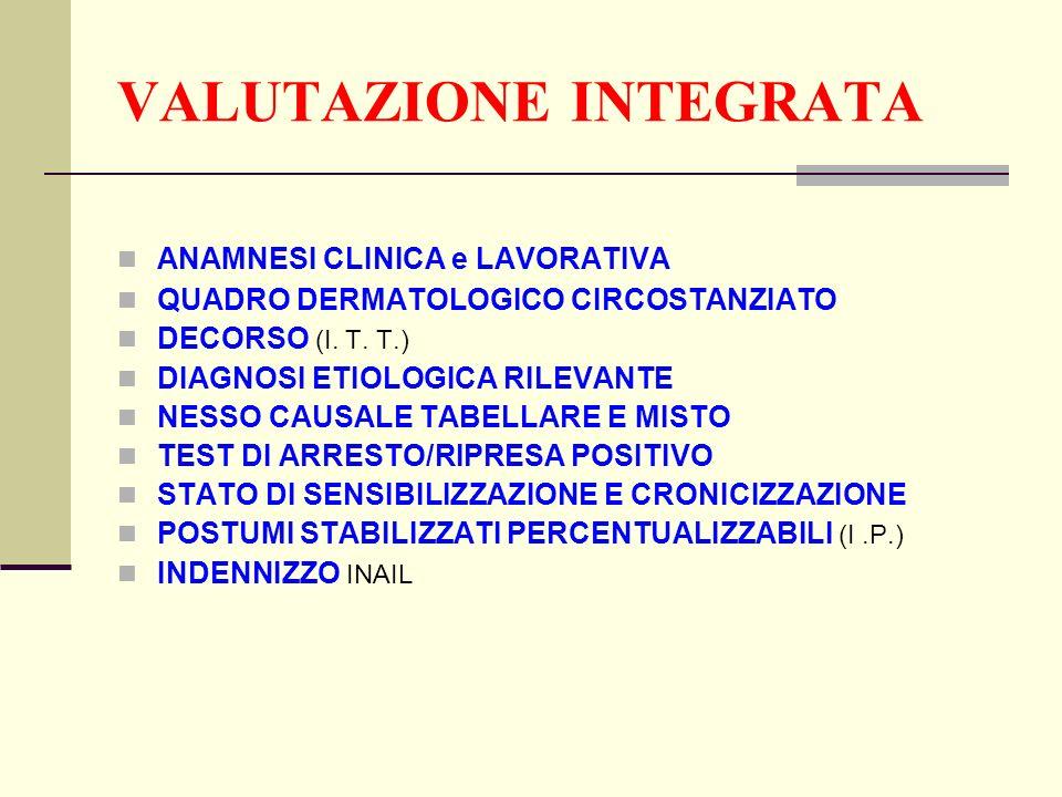 VALUTAZIONE INTEGRATA ANAMNESI CLINICA e LAVORATIVA QUADRO DERMATOLOGICO CIRCOSTANZIATO DECORSO (I. T. T.) DIAGNOSI ETIOLOGICA RILEVANTE NESSO CAUSALE