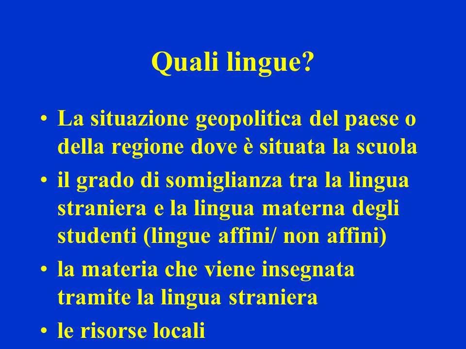 Quali lingue? La situazione geopolitica del paese o della regione dove è situata la scuola il grado di somiglianza tra la lingua straniera e la lingua