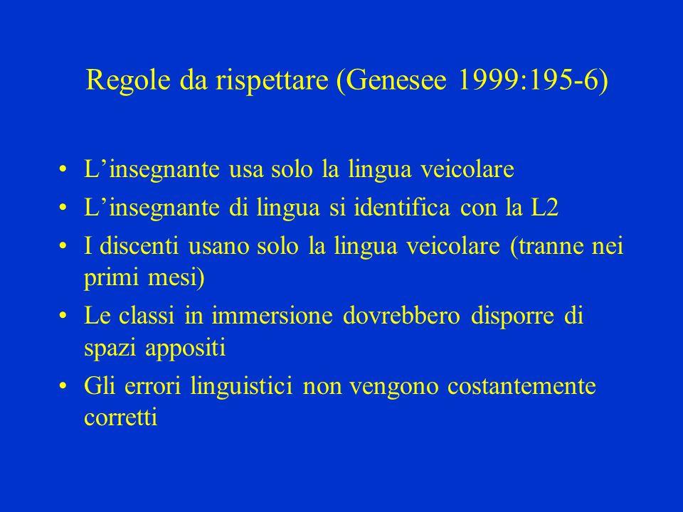 Regole da rispettare (Genesee 1999:195-6) Linsegnante usa solo la lingua veicolare Linsegnante di lingua si identifica con la L2 I discenti usano solo