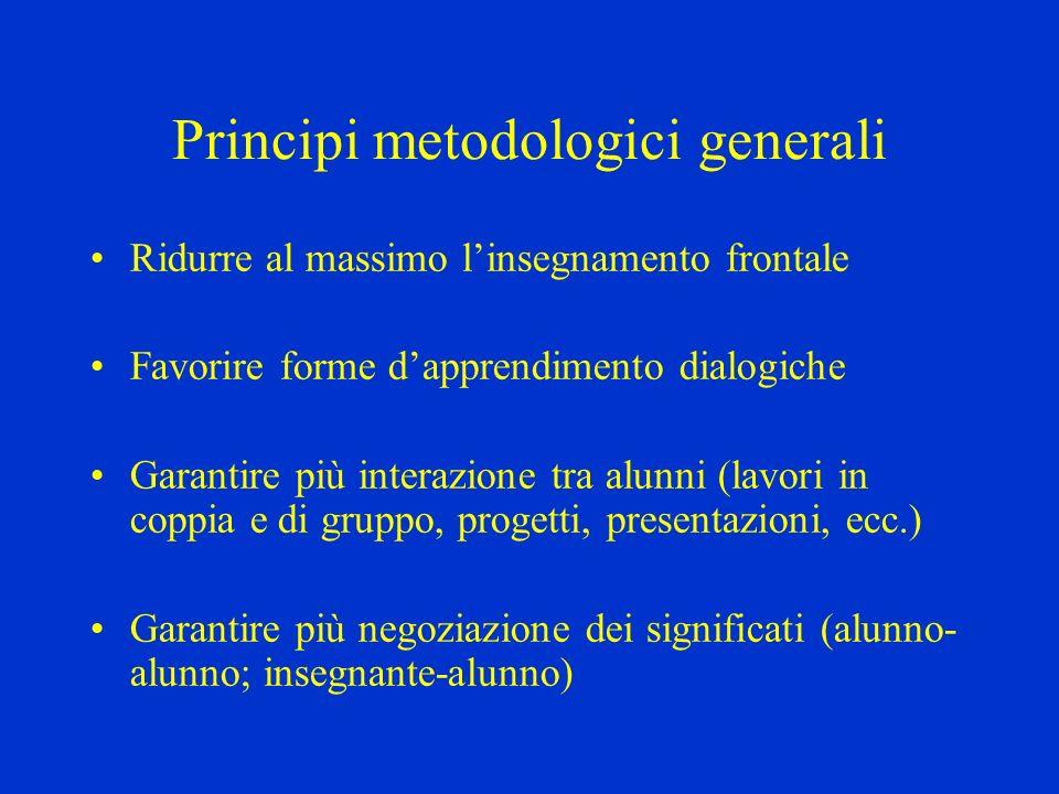 Principi metodologici generali Ridurre al massimo linsegnamento frontale Favorire forme dapprendimento dialogiche Garantire più interazione tra alunni