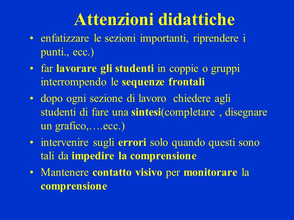 Attenzioni didattiche enfatizzare le sezioni importanti, riprendere i punti., ecc.) far lavorare gli studenti in coppie o gruppi interrompendo le sequ