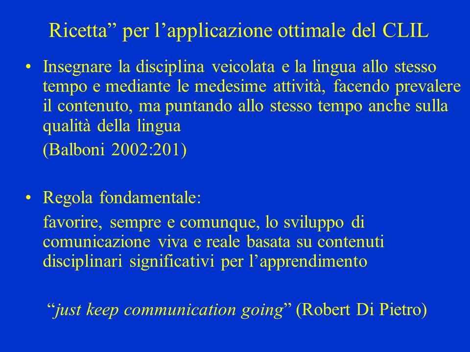 Ricetta per lapplicazione ottimale del CLIL Insegnare la disciplina veicolata e la lingua allo stesso tempo e mediante le medesime attività, facendo p