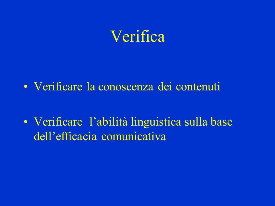 Verifica Verificare la conoscenza dei contenuti Verificare labilità linguistica sulla base dellefficacia comunicativa