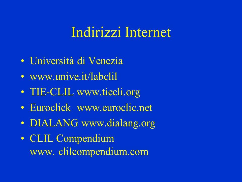 Indirizzi Internet Università di Venezia www.unive.it/labclil TIE-CLIL www.tiecli.org Euroclick www.euroclic.net DIALANG www.dialang.org CLIL Compendi