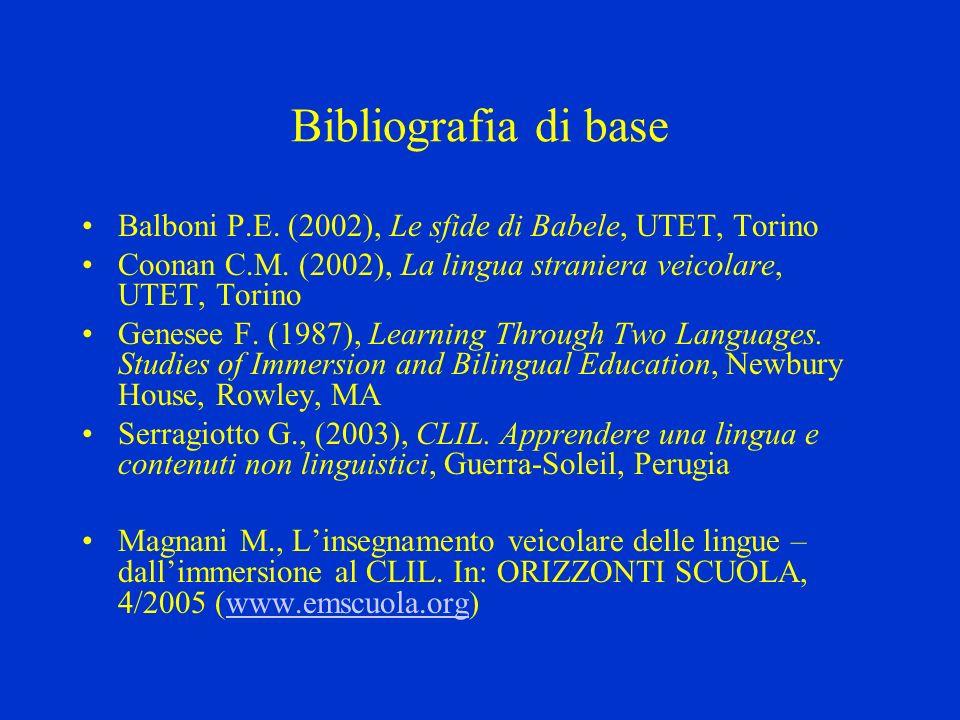 Bibliografia di base Balboni P.E. (2002), Le sfide di Babele, UTET, Torino Coonan C.M. (2002), La lingua straniera veicolare, UTET, Torino Genesee F.