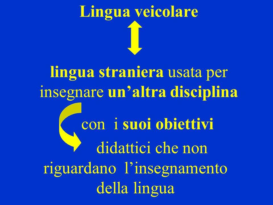 Lingua veicolare lingua straniera usata per insegnare unaltra disciplina con i suoi obiettivi didattici che non riguardano linsegnamento della lingua