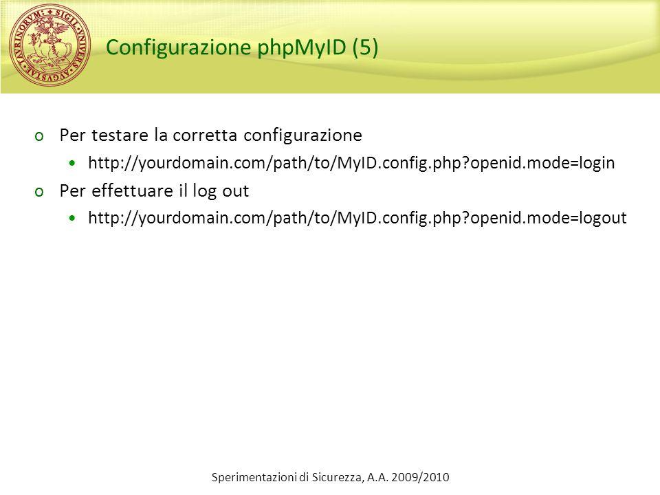 Configurazione phpMyID (5) o Per testare la corretta configurazione http://yourdomain.com/path/to/MyID.config.php?openid.mode=login o Per effettuare i