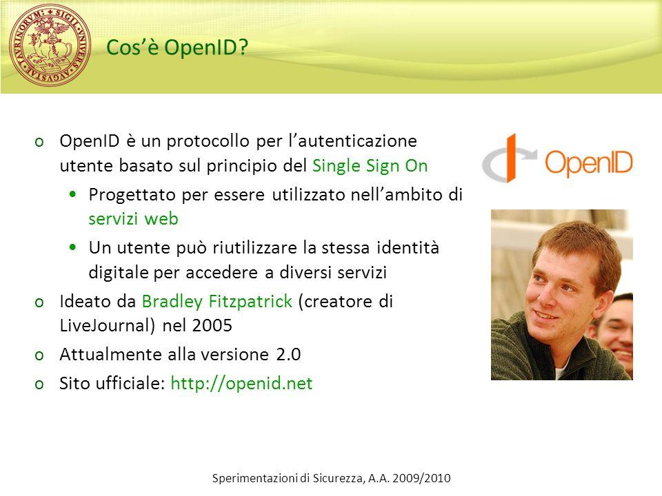 Cosè OpenID? o OpenID è un protocollo per lautenticazione utente basato sul principio del Single Sign On Progettato per essere utilizzato nellambito d