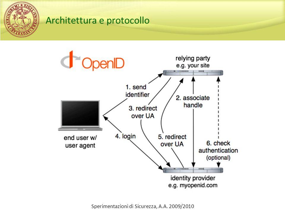 Consumer o Utilizzeremo PHP-OpenID Sviluppato da JanRain Può essere usato anche come provider Download: http://openidenabled.com/php-openid (versione 2.1.3) o Potete utilizzare qualunque altra libreria consumer a vostro piacimento Alcuni pacchetti open: http://wiki.openid.net/Libraries Esistono implementazioni in diversi linguaggi di programmazione… Sperimentazioni di Sicurezza, A.A.