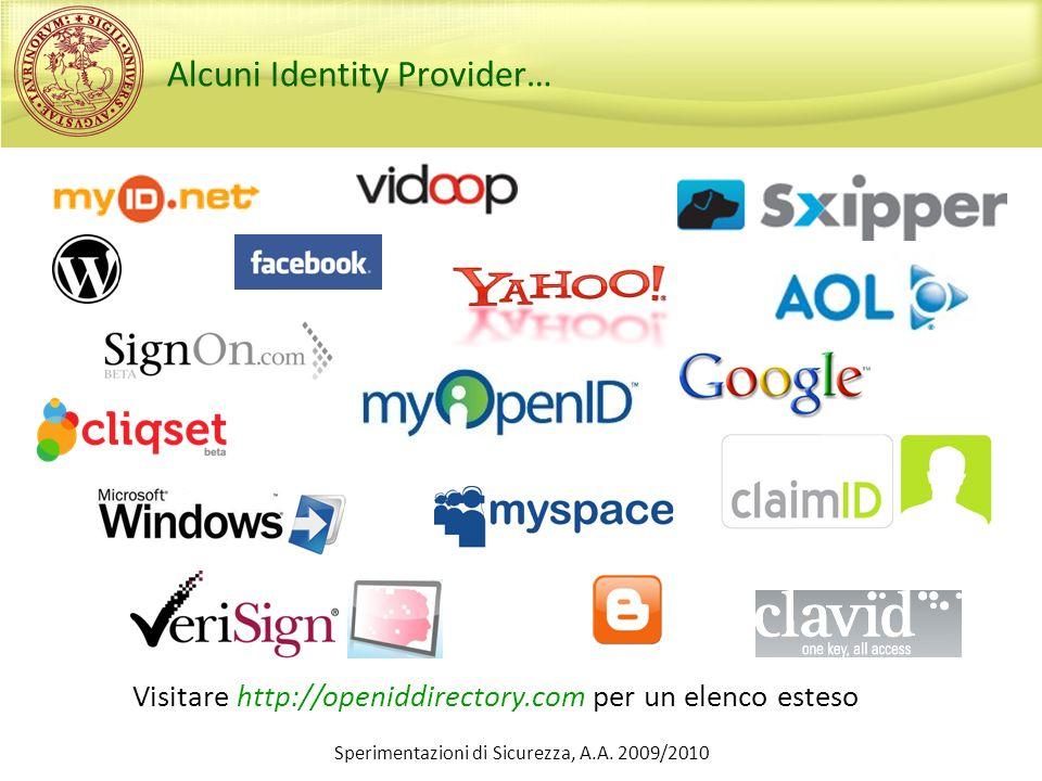 Alcuni Identity Provider… Visitare http://openiddirectory.com per un elenco esteso Sperimentazioni di Sicurezza, A.A. 2009/2010