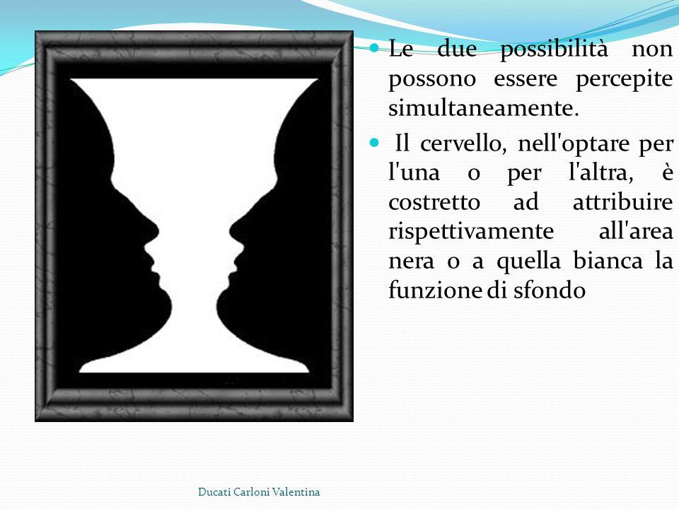 Le due possibilità non possono essere percepite simultaneamente. Il cervello, nell'optare per l'una o per l'altra, è costretto ad attribuire rispettiv