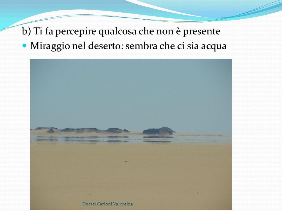 b) Ti fa percepire qualcosa che non è presente Miraggio nel deserto: sembra che ci sia acqua Ducati Carloni Valentina