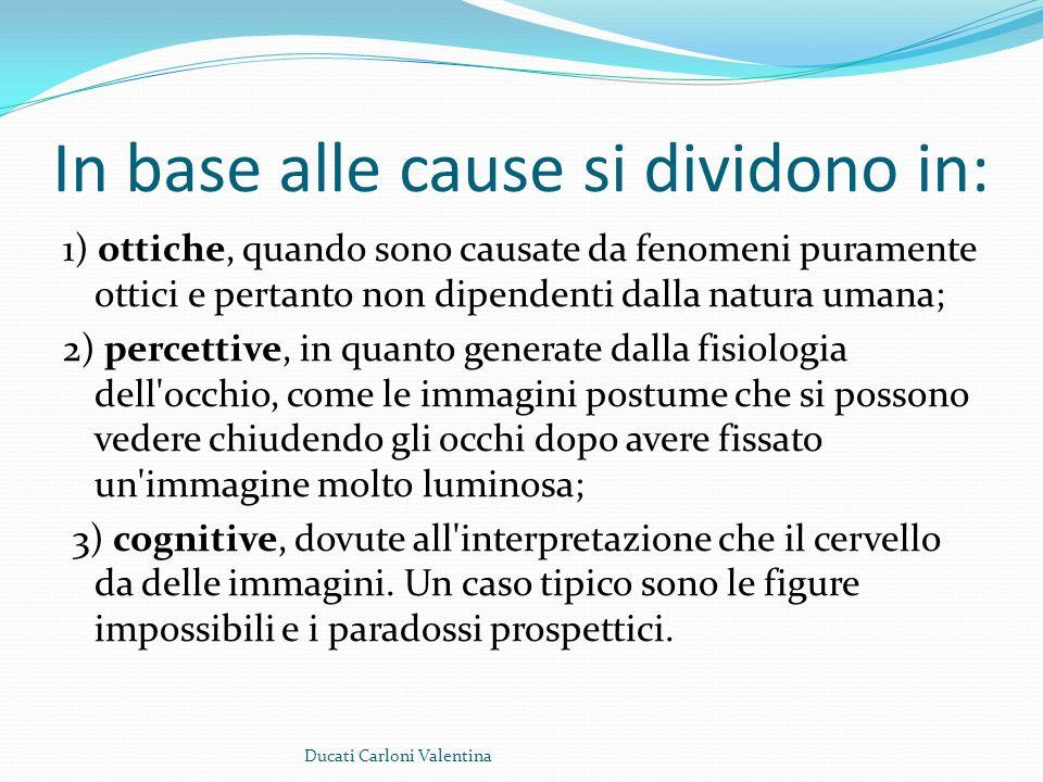 In base alle cause si dividono in: 1) ottiche, quando sono causate da fenomeni puramente ottici e pertanto non dipendenti dalla natura umana; 2) perce