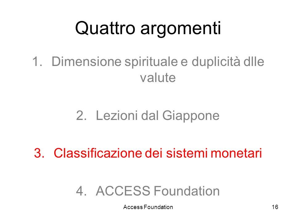 Access Foundation16 Quattro argomenti 1.Dimensione spirituale e duplicità dlle valute 2.Lezioni dal Giappone 3.Classificazione dei sistemi monetari 4.