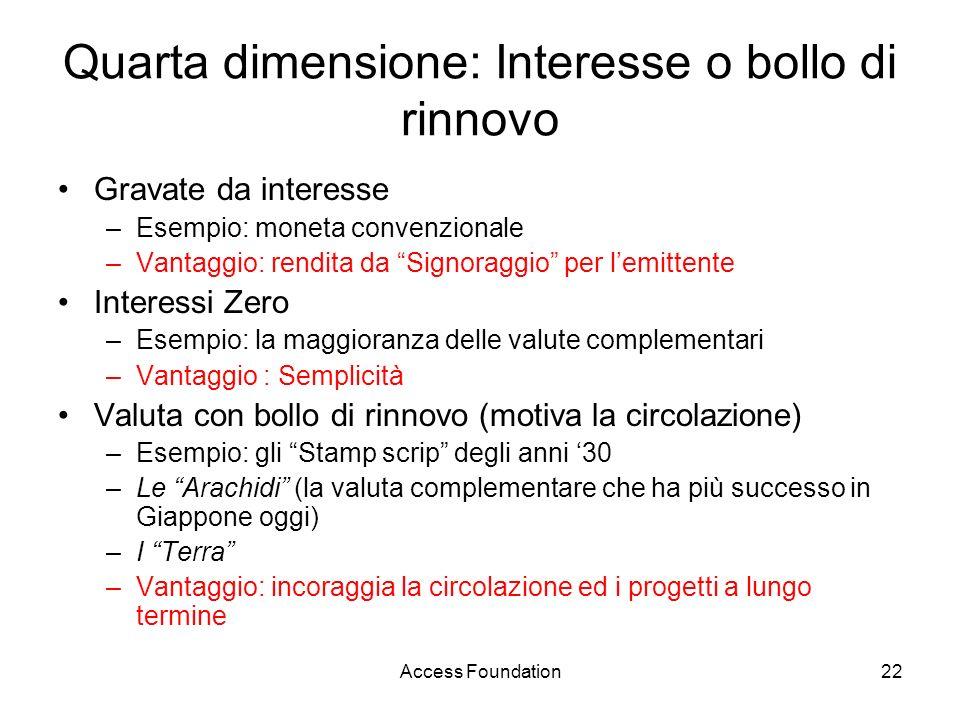 Access Foundation22 Quarta dimensione: Interesse o bollo di rinnovo Gravate da interesse –Esempio: moneta convenzionale –Vantaggio: rendita da Signora