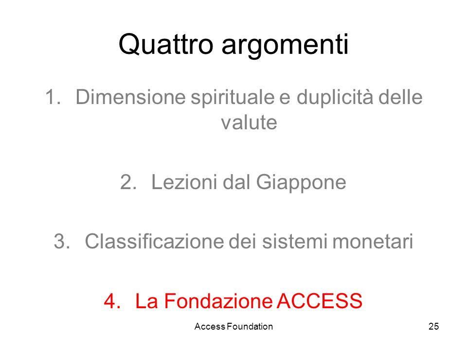 Access Foundation25 Quattro argomenti 1.Dimensione spirituale e duplicità delle valute 2.Lezioni dal Giappone 3.Classificazione dei sistemi monetari 4