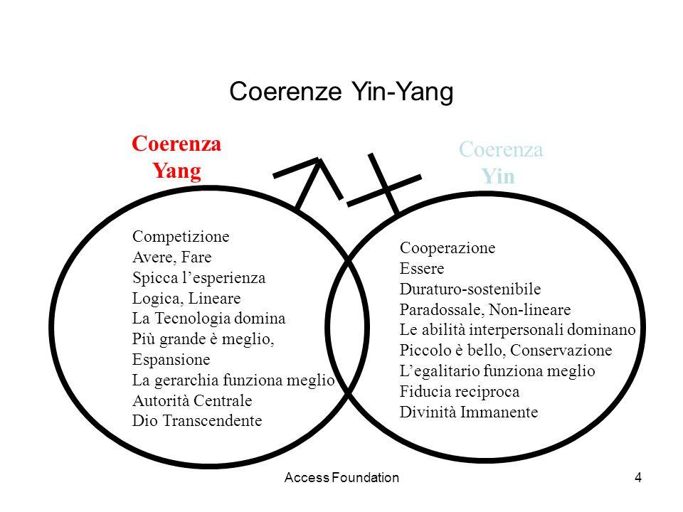 Access Foundation4 Coerenze Yin-Yang Competizione Avere, Fare Spicca lesperienza Logica, Lineare La Tecnologia domina Più grande è meglio, Espansione