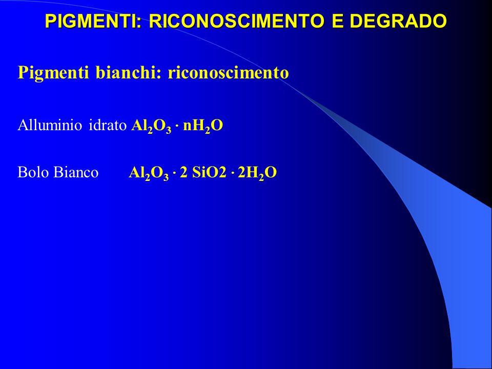 PIGMENTI: RICONOSCIMENTO E DEGRADO Pigmenti bianchi: riconoscimento Alluminio idrato Al 2 O 3 · nH 2 O Bolo Bianco Al 2 O 3 · 2 SiO2 · 2H 2 O
