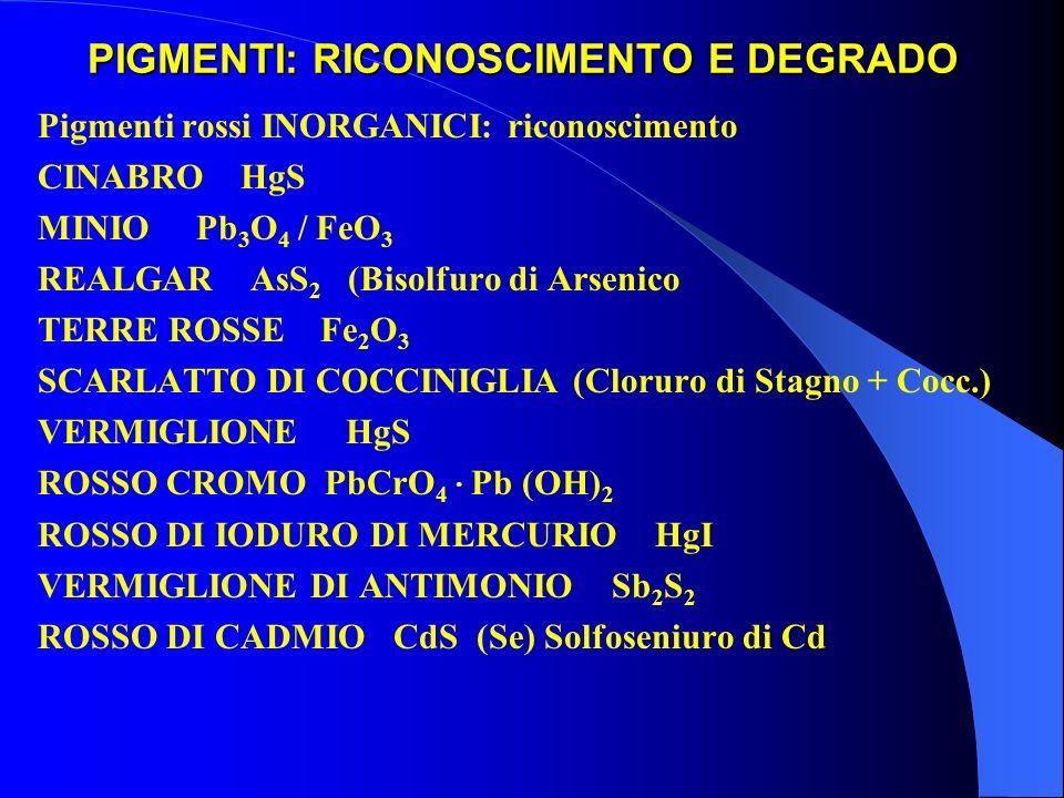 PIGMENTI: RICONOSCIMENTO E DEGRADO Pigmenti rossi INORGANICI: riconoscimento CINABRO HgS MINIO Pb 3 O 4 / FeO 3 REALGAR AsS 2 (Bisolfuro di Arsenico T
