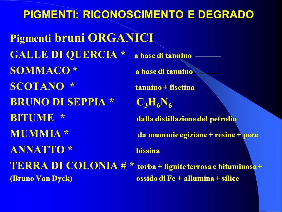 PIGMENTI: RICONOSCIMENTO E DEGRADO Pigmenti bruni ORGANICI GALLE DI QUERCIA * a base di tannino SOMMACO * a base di tannino SCOTANO * tannino + fiseti