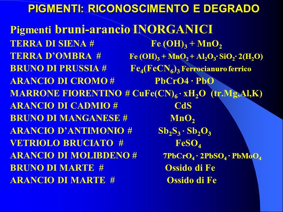 PIGMENTI: RICONOSCIMENTO E DEGRADO Pigmenti bruni-arancio INORGANICI TERRA DI SIENA # Fe (OH) 3 + MnO 2 TERRA DOMBRA # Fe (OH) 3 + MnO 2 + Al 2 O 3 ·