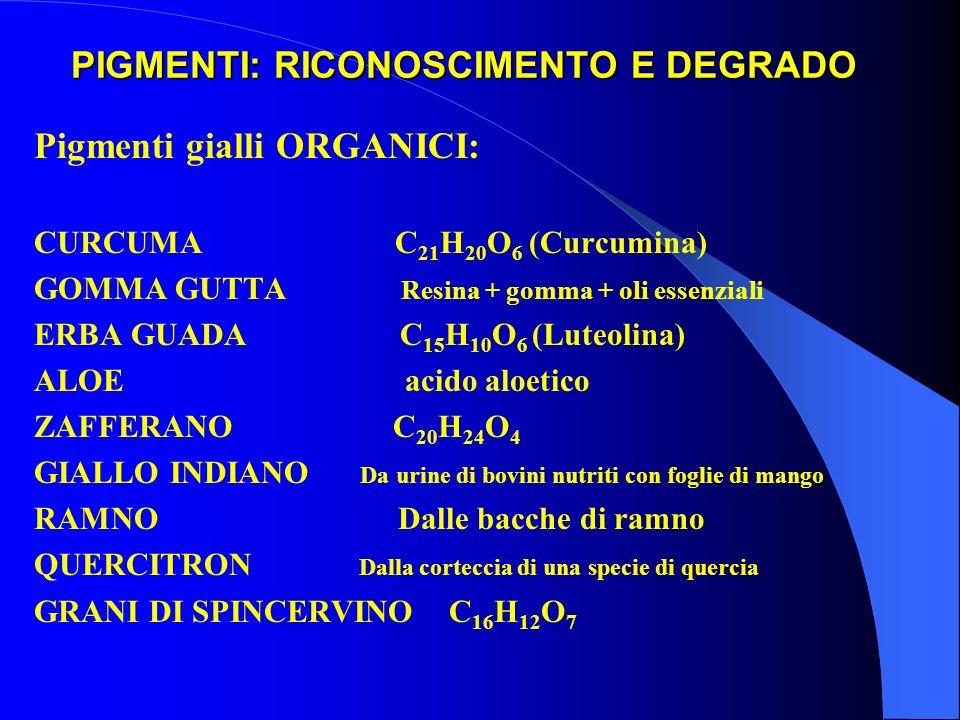 PIGMENTI: RICONOSCIMENTO E DEGRADO Pigmenti gialli ORGANICI: CURCUMA C 21 H 20 O 6 (Curcumina) GOMMA GUTTA Resina + gomma + oli essenziali ERBA GUADA