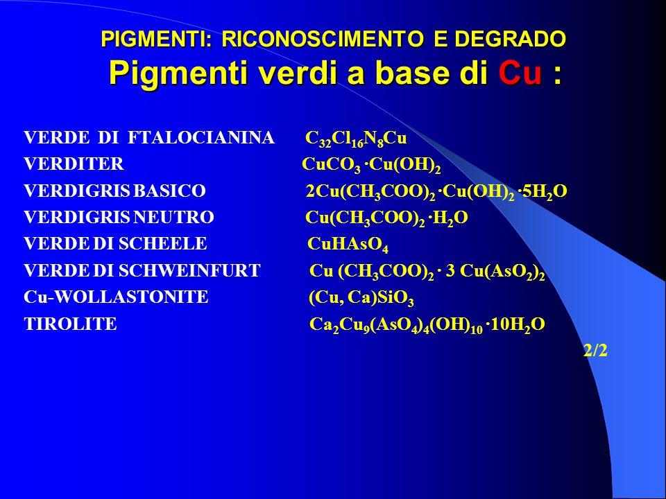 PIGMENTI: RICONOSCIMENTO E DEGRADO Pigmenti verdi a base di Cu : VERDE DI FTALOCIANINA C 32 Cl 16 N 8 Cu VERDITER CuCO 3 ·Cu(OH) 2 VERDIGRIS BASICO 2C