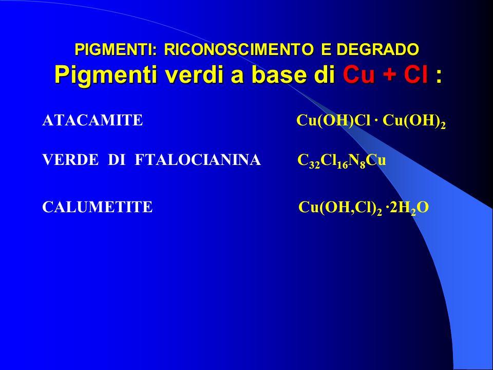 PIGMENTI: RICONOSCIMENTO E DEGRADO Pigmenti verdi a base di Cu + Cl : ATACAMITE Cu(OH)Cl · Cu(OH) 2 VERDE DI FTALOCIANINA C 32 Cl 16 N 8 Cu CALUMETITE