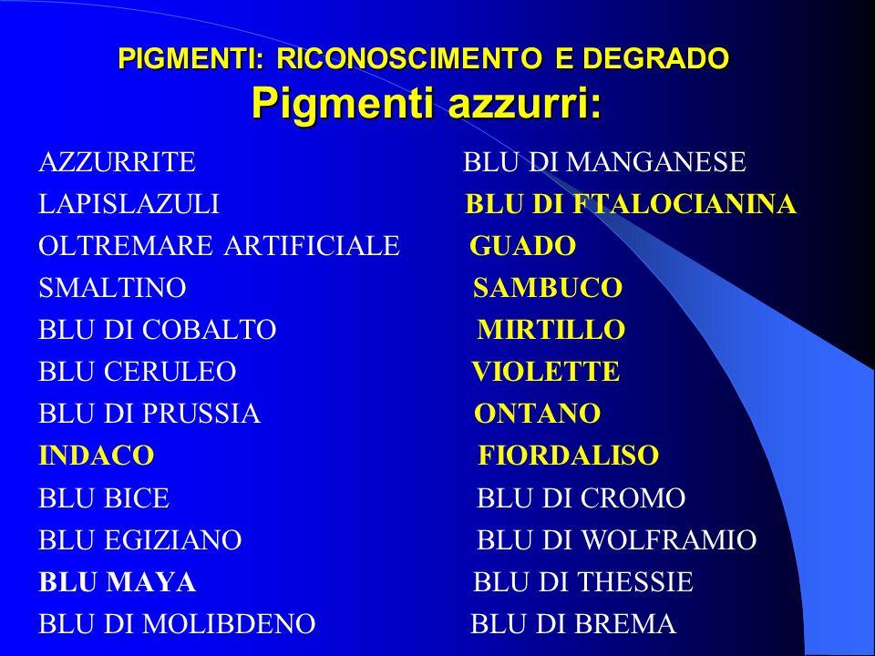 PIGMENTI: RICONOSCIMENTO E DEGRADO Pigmenti azzurri: AZZURRITE BLU DI MANGANESE LAPISLAZULI BLU DI FTALOCIANINA OLTREMARE ARTIFICIALE GUADO SMALTINO S