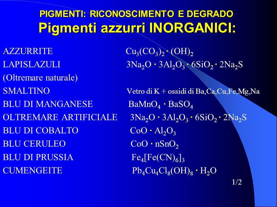 PIGMENTI: RICONOSCIMENTO E DEGRADO Pigmenti azzurri INORGANICI: AZZURRITE Cu 3 (CO 3 ) 2 · (OH) 2 LAPISLAZULI 3Na 2 O · 3Al 2 O 3 · 6SiO 2 · 2Na 2 S (