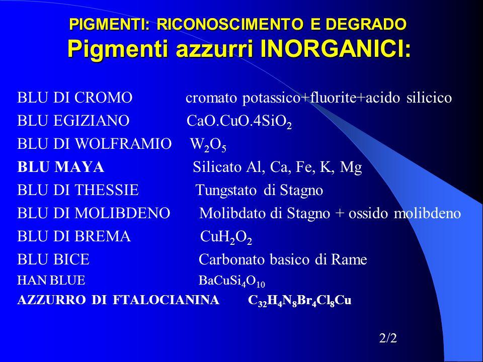 PIGMENTI: RICONOSCIMENTO E DEGRADO Pigmenti azzurri INORGANICI: BLU DI CROMO cromato potassico+fluorite+acido silicico BLU EGIZIANO CaO.CuO.4SiO 2 BLU