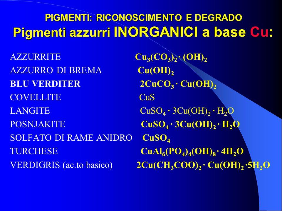 PIGMENTI: RICONOSCIMENTO E DEGRADO Pigmenti azzurri INORGANICI a base Cu: AZZURRITE Cu 3 (CO 3 ) 2 · (OH) 2 AZZURRO DI BREMA Cu(OH) 2 BLU VERDITER 2Cu