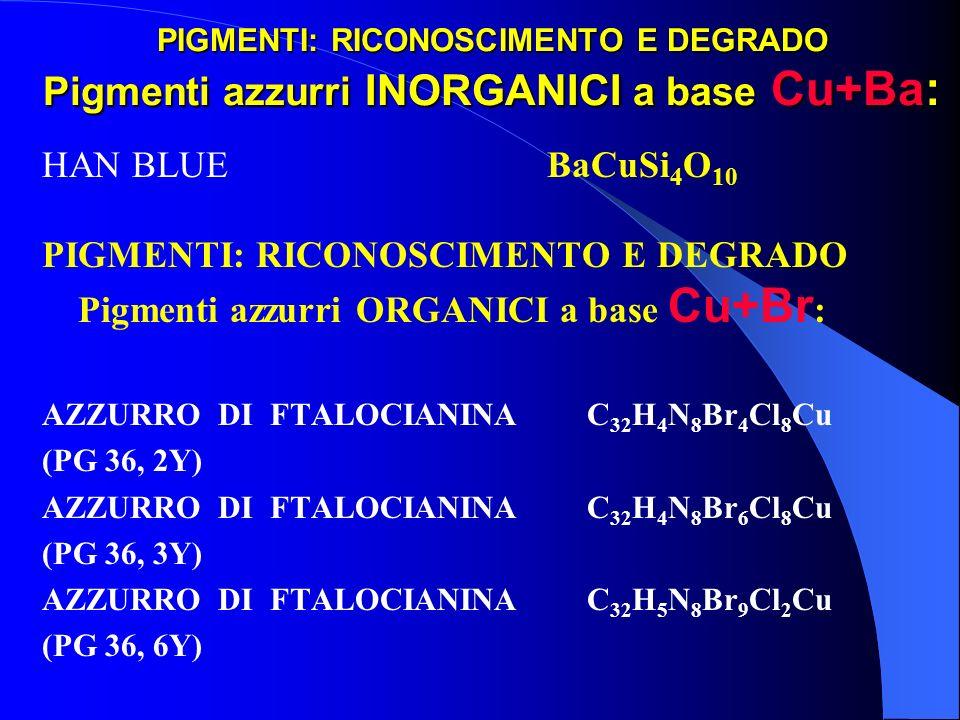 PIGMENTI: RICONOSCIMENTO E DEGRADO Pigmenti azzurri INORGANICI a base Cu+Ba: HAN BLUE BaCuSi 4 O 10 PIGMENTI: RICONOSCIMENTO E DEGRADO Pigmenti azzurr